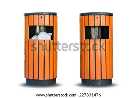 Wood litter bin in the park, Trash container isolate on over white background - stock photo