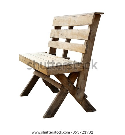 Wood long arms chair isolated on white background