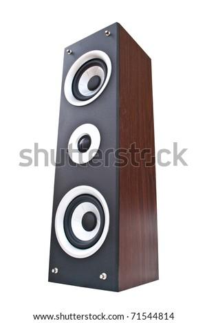 Wood Loudspeaker on the white. - stock photo