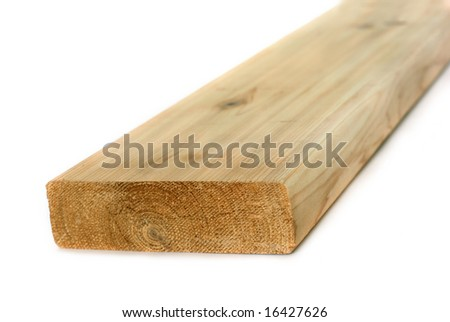 Wood lumber board isolated - stock photo