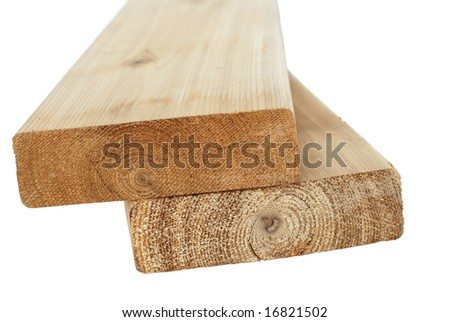 Wood lumber boards isolated - stock photo