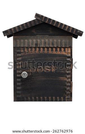 wood mailbox isolate on white background - stock photo