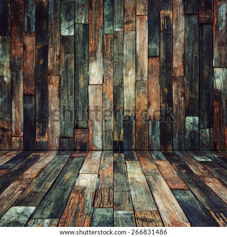 Wood material room background for Vintage wallpaper - stock photo