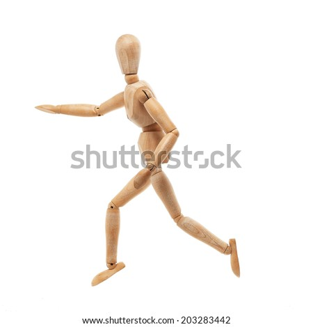 Wood model with running pose isolated on white background