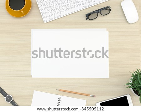 Wood office desk table with computer, smartphone, supplies and coffee cup. Top view with copy space - stock photo
