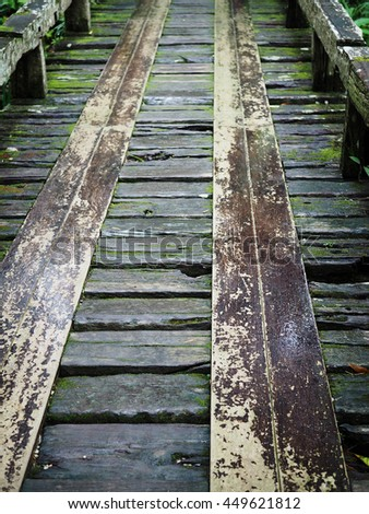 Wood old bridge a river in a tropical forest, Thailand.