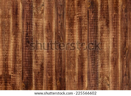 Wood old dark brown wall (floor or fence) background with grungy shabby retro texture (surface). Usable for timber, carpentry, facade, template of parquet. Vertical neat aged planks (rustic backdrop) - stock photo
