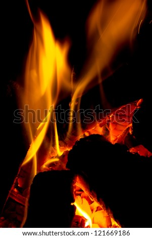 Wood on fire - stock photo
