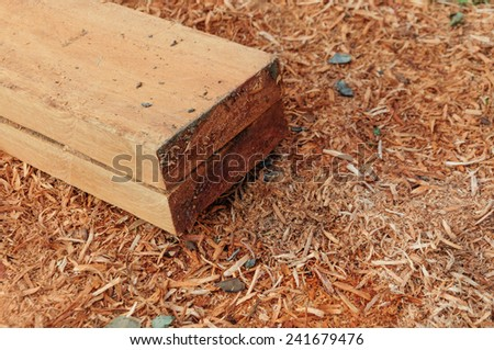 Wood on saw dust background