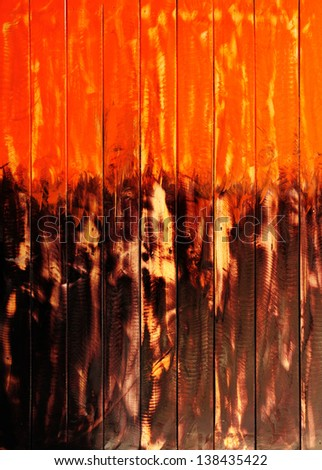 wood orange painting