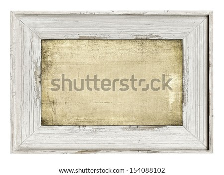 Wood painted frame with empty grunge canvas isolated on white - stock photo