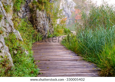 Wood path in the Plitvice national park in autumn ,Croatia - stock photo