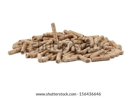 Wood pellets are a type of wood fuel, generally made from compacted sawdust. - stock photo
