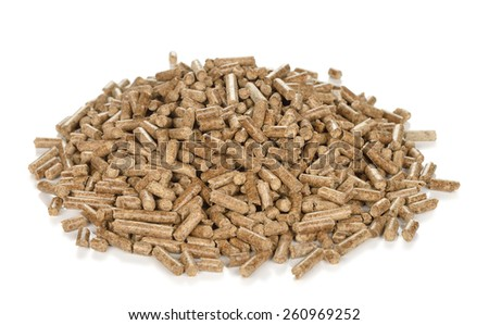 Wood pellets isolated on white background - stock photo