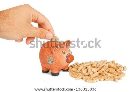 Wood pellets with piggy bank on white background - stock photo