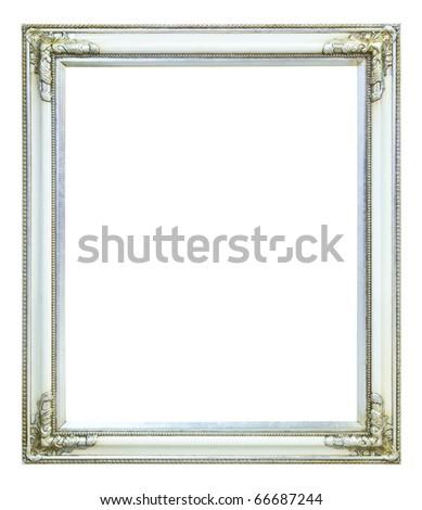 wood photo image frame isolated on white background - stock photo