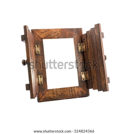 Wood picture frame on white background.