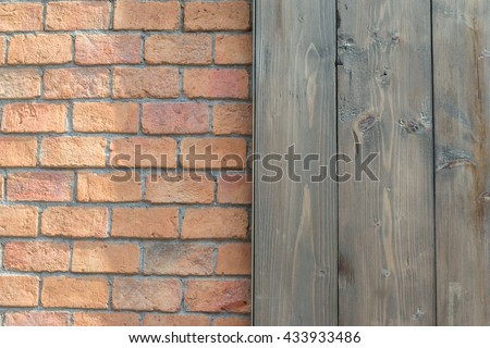 wood plank and old brick texture background - stock photo