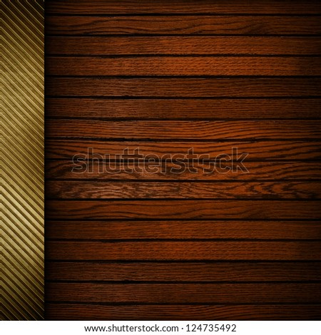 wood plank background with golden bar - stock photo