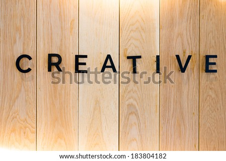 Wood plank brown texture background with creative text - stock photo