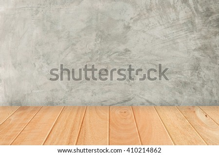 Wood plank floor room as concrete wall background - stock photo