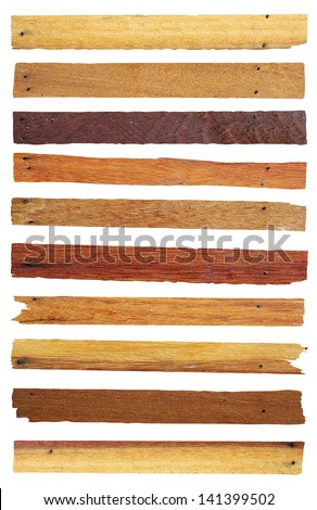 Wood planks isolated on white, Objects with clipping paths for design work - stock photo