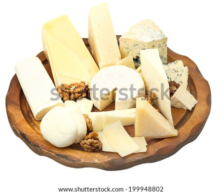 wood plate with various cheeses isolated on white background - stock photo
