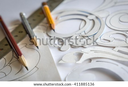Wood processing. Joinery work.  pencils and ruler. Graphic designer at work. vintage  mockup, template  for Wood Carving. use as background