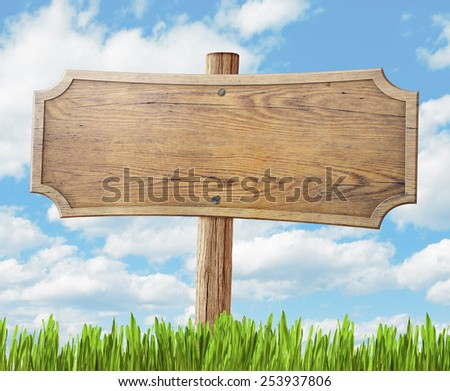wood road sign on grass and sky background - stock photo