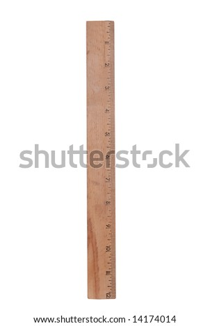 wood ruler isolated over a white background - stock photo
