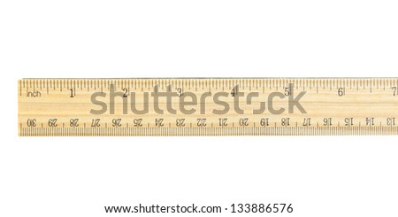 wood ruler on white background - stock photo
