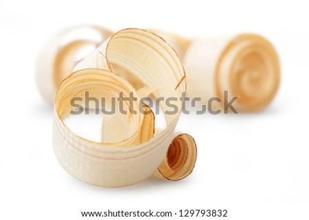 Wood shavings isolated on white background - stock photo