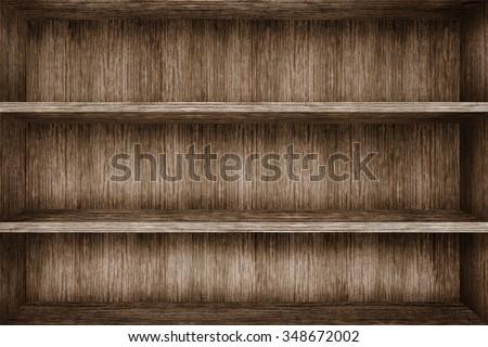 Wood shelf on wood background - stock photo