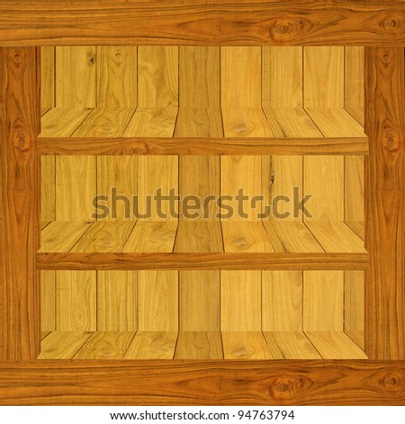 Wood shelf with stock photo inside, Window display concept - stock photo