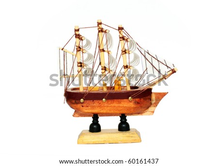 wood ship model isolated