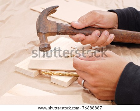 Wood Shop Art Project - stock photo