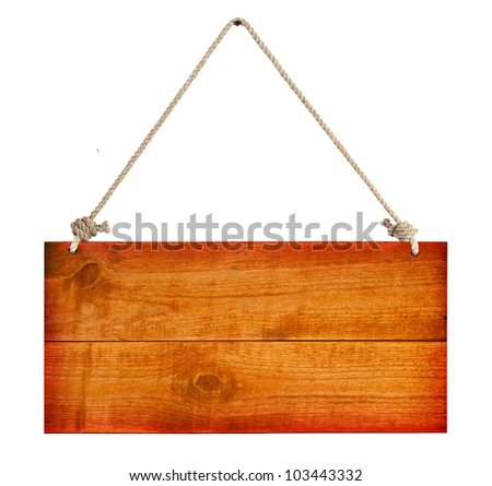 wood sign board with rope isolated on white - stock photo