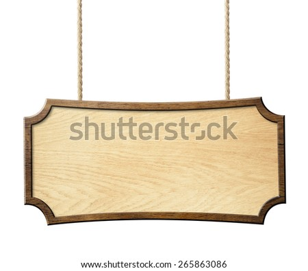 wood sign hanging on ropes isolated on white - stock photo