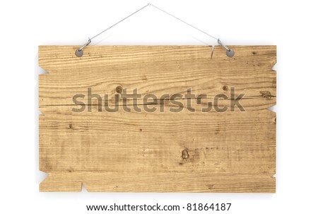 wood sign hanging on wall - stock photo
