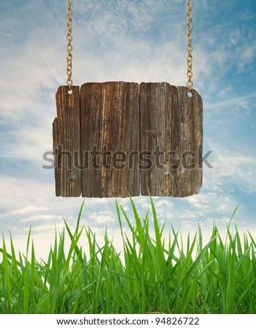 Wood sign with grass and blue sky - stock photo