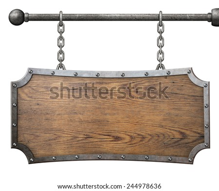 wood sign with metal frame hanging on chain isolated - stock photo