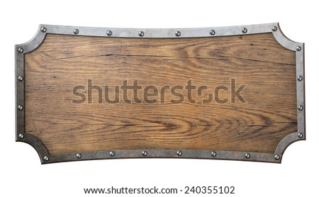 wood sign with metal frame on chain isolated on white - stock photo