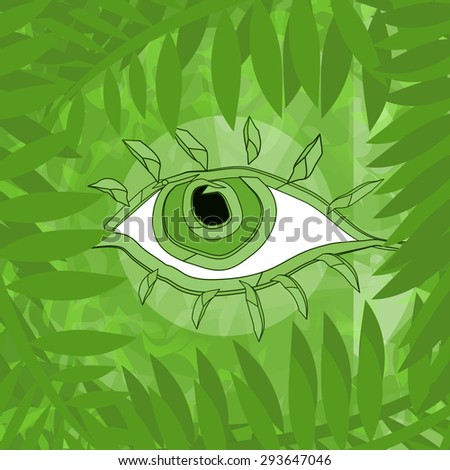 Wood spirit, abstract eye behind green branches - stock photo