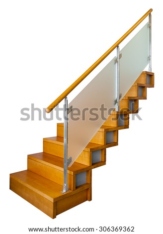 Wood stair - stock photo