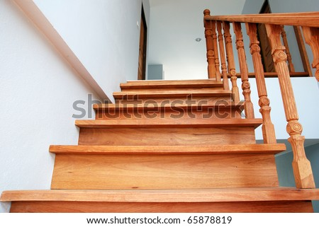 Wood stair. - stock photo