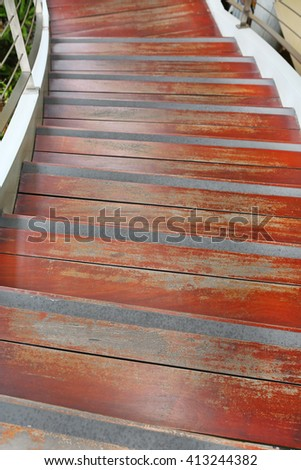 Wood stair go down - stock photo