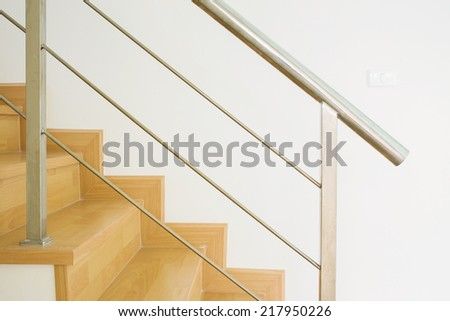 wood staircase interior in the modern house - stock photo