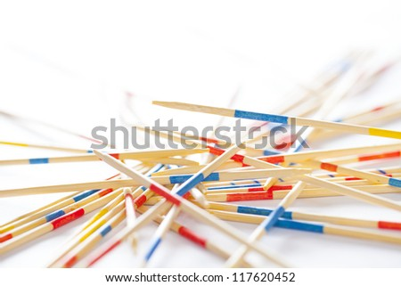 wood sticks on white background - stock photo