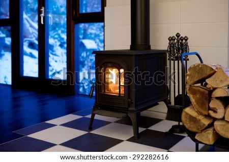 Wood stove - stock photo