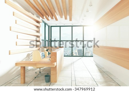 Wood style office with furniture and windows in floor with city view 3D Render - stock photo